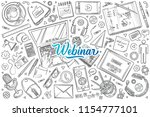 hand drawn webinar set doodle... | Shutterstock .eps vector #1154777101