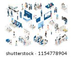 bank interior isometric. people ... | Shutterstock .eps vector #1154778904