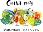 cocktail party. watercolor... | Shutterstock .eps vector #1154779147