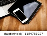 keyboard with phone and tablet... | Shutterstock . vector #1154789227