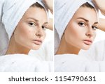 young woman in white bathrobe...   Shutterstock . vector #1154790631