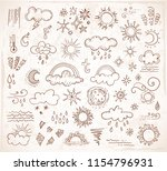 doodle weather icons. vector... | Shutterstock .eps vector #1154796931