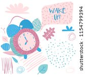 wake up banner. alarm clock in... | Shutterstock .eps vector #1154799394