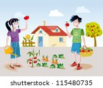 a boy and a girl working... | Shutterstock .eps vector #115480735