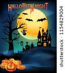 halloween pumpkins and creepy... | Shutterstock .eps vector #1154829004