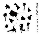 black vector spots and blots on ... | Shutterstock .eps vector #1154830204