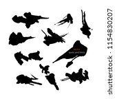 black vector spots and blots on ... | Shutterstock .eps vector #1154830207
