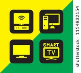 hd icon. 4 hd set with smart tv ... | Shutterstock .eps vector #1154832154