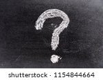 Small photo of White color chak hand drawing in question mark shape on blackboard background