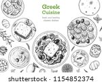 greek cuisine top view frame.... | Shutterstock .eps vector #1154852374