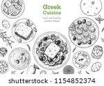 greek cuisine top view frame.... | Shutterstock .eps vector #1154852374