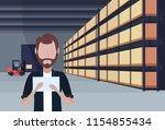 man forklift loader working...   Shutterstock .eps vector #1154855434