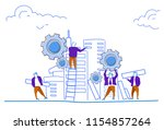 people group construction house ... | Shutterstock .eps vector #1154857264
