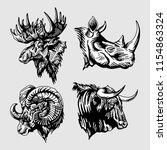 animal head black and white... | Shutterstock .eps vector #1154863324