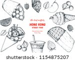 hong kong waffle hand drawn... | Shutterstock .eps vector #1154875207