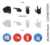 closed fist  index  and other... | Shutterstock .eps vector #1154875594