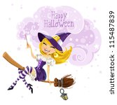 Cute Witch Flying On A Broom...