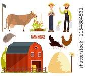 farm cartoon character vector...   Shutterstock .eps vector #1154884531