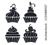 silhouettes of cartoon cupcakes | Shutterstock .eps vector #115488907
