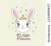 cute bunny girl with a tiara... | Shutterstock .eps vector #1154890657