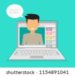 male blogger making a review.... | Shutterstock .eps vector #1154891041