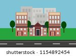 suburban house surrounded by... | Shutterstock .eps vector #1154892454