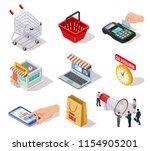 isometric shopping icons.... | Shutterstock .eps vector #1154905201