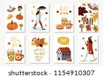 set of autumnal card for... | Shutterstock .eps vector #1154910307