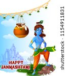 lord krishna indian god... | Shutterstock .eps vector #1154911831