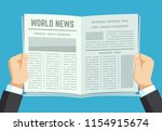 newspaper in hands. businessman ... | Shutterstock .eps vector #1154915674