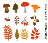 autumn leaves  mushrooms and... | Shutterstock .eps vector #1154915941