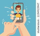 young happy man taking selfie...   Shutterstock .eps vector #1154915947