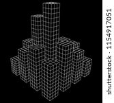 mesh low poly wireframe cubes... | Shutterstock . vector #1154917051