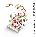 vegetable composition. plate... | Shutterstock . vector #1154920504
