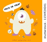 baby monster on halloween... | Shutterstock .eps vector #1154924041