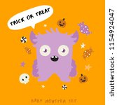 baby monster on halloween... | Shutterstock .eps vector #1154924047