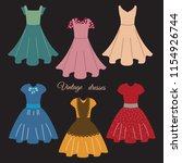 collection of vintage women's ... | Shutterstock .eps vector #1154926744
