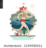 runners   a girl running in the ... | Shutterstock .eps vector #1154930311