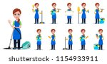 cleaning company staff in... | Shutterstock .eps vector #1154933911