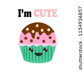 yummy kawaii cake  muffin... | Shutterstock .eps vector #1154936857