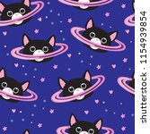 Stock vector seamless abstract pattern with cats in space prints for textiles fabrics clothes web wallpaper 1154939854