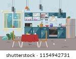 dirty messy kitchen vector... | Shutterstock .eps vector #1154942731