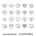 set of heart vector line icons. ... | Shutterstock .eps vector #1154959801
