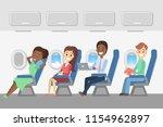 passengers in the plane.... | Shutterstock .eps vector #1154962897