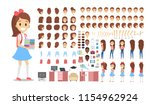 pretty school kid female... | Shutterstock .eps vector #1154962924