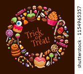 halloween sweets round frame.... | Shutterstock . vector #1154965357
