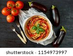 pie with eggplants and tomatoes ... | Shutterstock . vector #1154973997