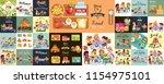 school lunch set  composition... | Shutterstock .eps vector #1154975101