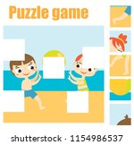 puzzle game  find missing part...   Shutterstock .eps vector #1154986537