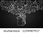 blackboard back to school... | Shutterstock .eps vector #1154987917